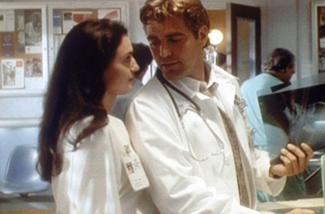 Diane (Lisa Zane, l.) ist froh, dass Ross (George Clooney, r.) seine Zurückhaltung aufgibt und langsam zur Familie gehört. - Bildquelle: TM+  2000 WARNER BROS.