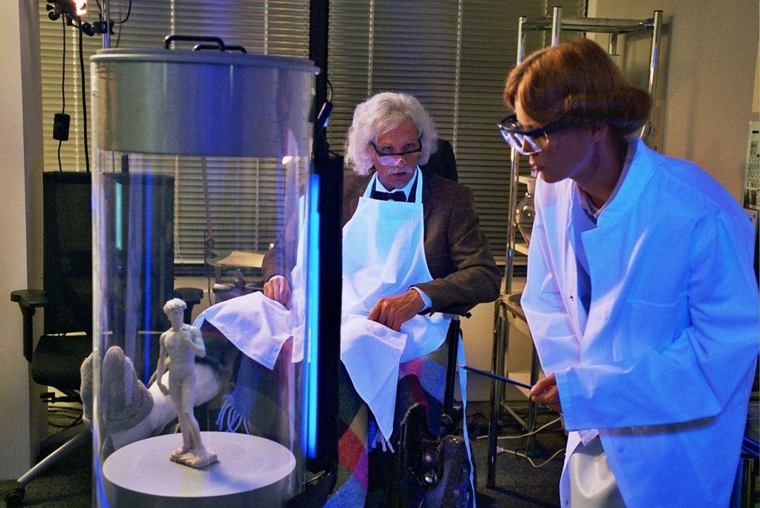 Getarnt als Schweizer Gutachter Professor Krieger, plant Max (Walter Sittler, l.) in den Besitz der David-Statuette zu gelangen. Sandra (Esther Schw... - Bildquelle: Sat.1