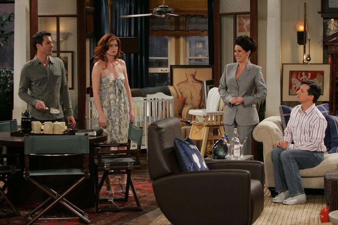 Will (Eric McCormack, l.) und Grace (Debra Messing, 2.v.l.) haben sich, seitdem Grace in Rom lebt, aus den Augen verloren. Doch Karen (Megan Mullall... - Bildquelle: NBC Productions