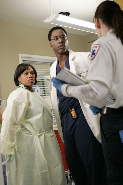 Haben einen harten Arbeitstag: Dr. Bailey (Chandra Wilson, l.), Dr. Burke (Isaiah Washington, M.) und Jill (Brooke Blanchard, r.) ... - Bildquelle: Touchstone Television