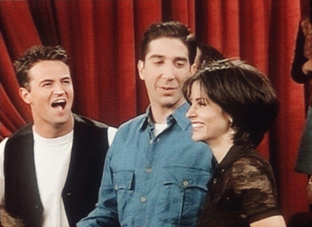 Chandler (Matthew Perry, l.), Ross (David Schwimmer, M.) und Monica (Courteney Cox, r.) besuchen ein Konzert und sind begeistert. - Bildquelle: TM+  2000 WARNER BROS.