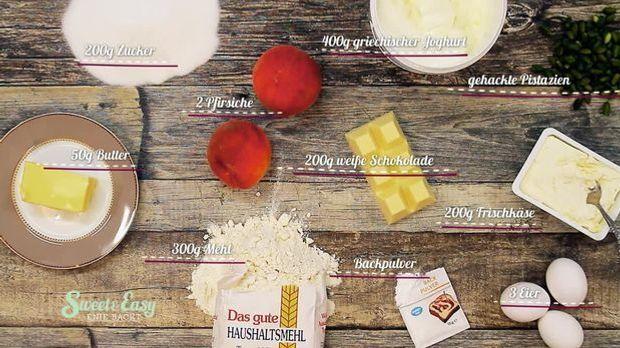 Schokokuchen mit Pfirsichen Zutaten