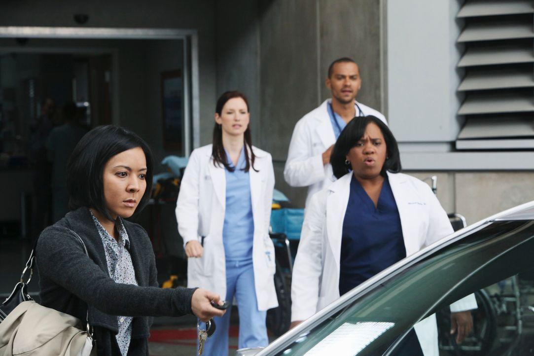 Noch ahnen Lexie (Chyler Leigh, 2.v.l.), Miranda (Chandra Wilson, r.) und Jackson (Jesse Williams, hinten) nicht, welches Problem Tess Adams (Jolene... - Bildquelle: ABC Studios