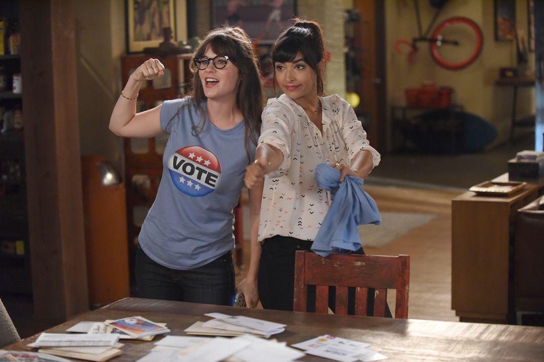 Jess (Zooey Deschanel, l.) und Cece (Hannah Simone, r.) engagieren sich im Präsidentschaftswahlkampf und stecken sich ein hohes Ziel ... - Bildquelle: 2017 Fox and its related entities.  All rights reserved.
