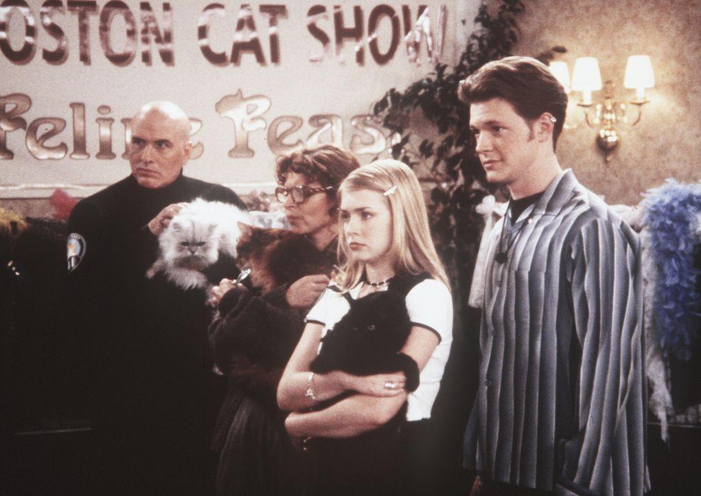 Sabrina (Melissa Joan Hart, 2.v.r.) und der Kater Salem wollen sich den ersten Preis bei einer Katzen-Show verdienen. Harvey (Nate Richert, r.) begl... - Bildquelle: Paramount Pictures