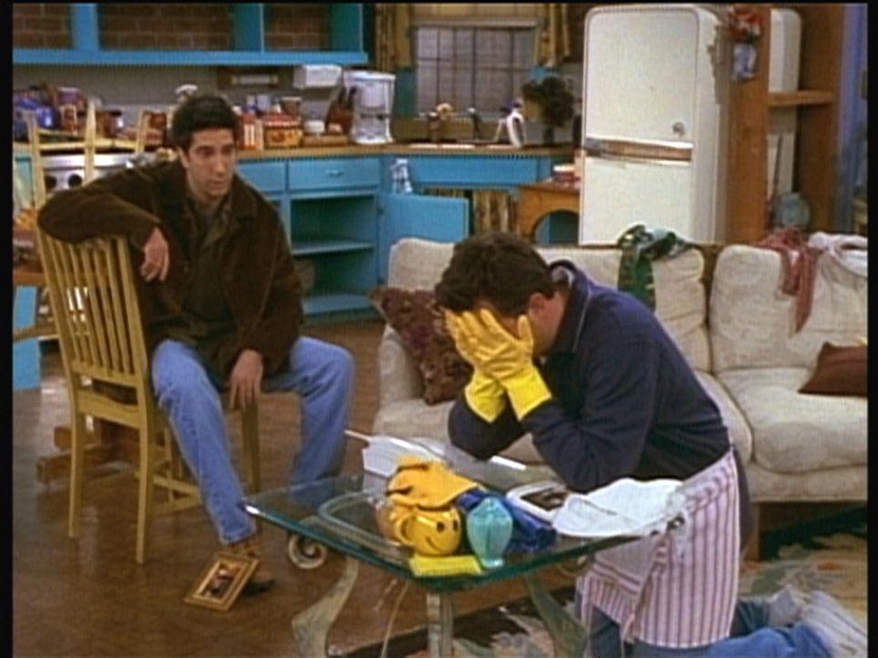 Chandler (Matthew Perry, r.) erfährt von Ross (David Schwimmer, l.), dass er Monica mit seinem Hausputz wohl nicht begeistern wird. - Bildquelle: TM+  2000 WARNER BROS.