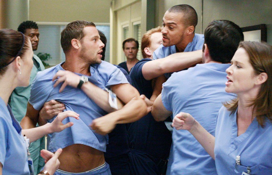 Als Alex (Justin Chambers, 2.v.l.) und Jackson (Jesse Williams, 3.v.r.) aneinander geraten, kommt es zu einer handfesten Auseinandersetzung. Lexie (... - Bildquelle: Touchstone Television