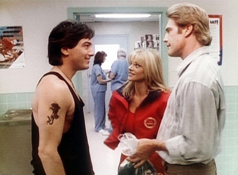 Steve (Barry Van Dyke, r.) und Jack (Scott Baio, l.) flirten mit der hübschen Rettungsschwimmerin Electra (Janet Gunn, M.). - Bildquelle: Viacom