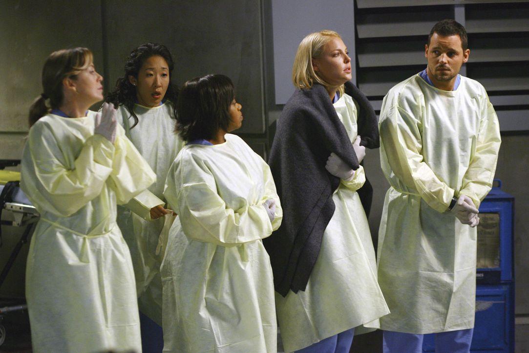In der Notaufnahme ist nichts zu tun: Meredith (Ellen Pompeo, l.), Bailey (Chandra Wilson, M.), Cristina (Sandra Oh, 2.v.l.), Izzie (Katherine Heigl... - Bildquelle: Touchstone Television