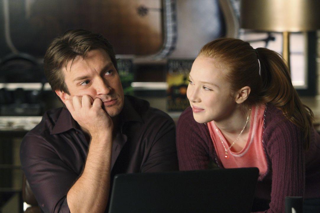 Richard Castle (Nathan Fillion, l.) muss wohl doch endlich lernen, dass er seiner Tochter Alexis (Molly C. Quinn, r.) nichts vormachen kann. - Bildquelle: 2008 American Broadcasting Companies, Inc. All rights reserved