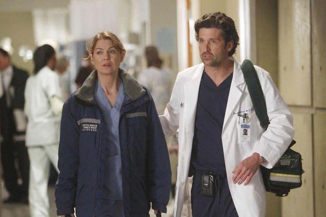 Während Meredith (Ellen Pompeo, l.) und Derek (Patrick Dempsey, r.) endlich Nachricht wegen Zola erhalten, muss Teddy das Leben ihres Ehemanns in di... - Bildquelle: ABC Studios