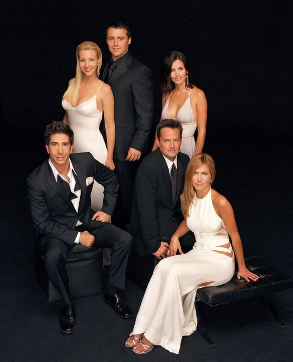 (10. Staffel) - Freunde fürs Leben: Monica (Courteney Cox, 3.v.r.), Ross (David Schwimmer, l.), Rachel (Jennifer Aniston, r.), Chandler (Matthew Per... - Bildquelle: TM &   2005 Warner Bros. Entertainment Inc.