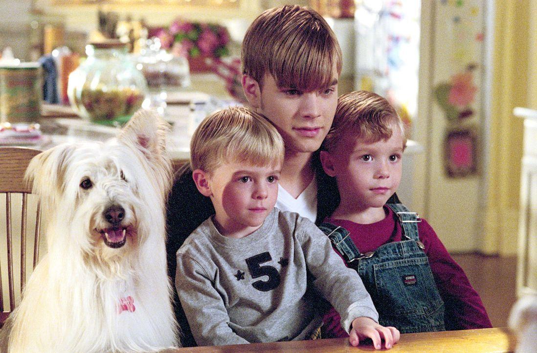 Simon (David Gallagher, 2.v.r.) passt auf die Zwillinge Samuel und David (Nikolas Brino und Lorenzo Brino) auf. - Bildquelle: The WB Television Network