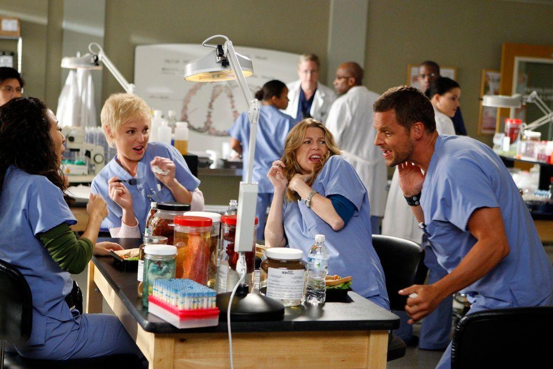 Nach der ersten Entlassungswelle machen sich jetzt Cristina (Sandra Oh, l.), Izzie (Katherine Heigl, 2.v.l.), Meredith (Ellen Pompeo, 2.v.r.) und Al... - Bildquelle: Touchstone Television