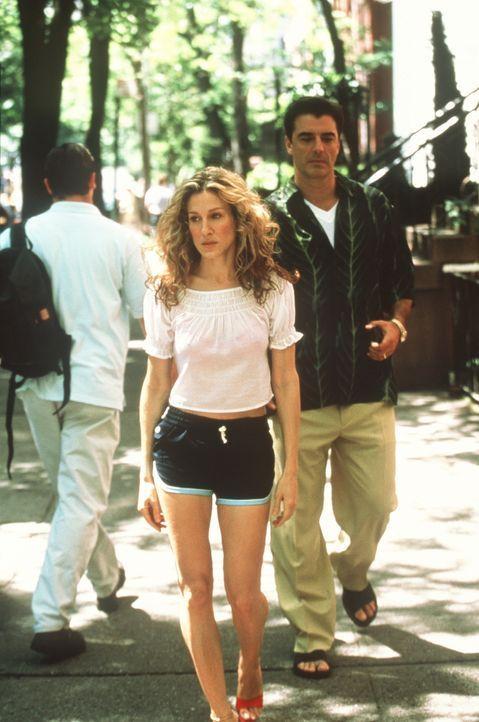 Während Aidan in Carries (Sarah Jessica Parker, l.) Wohnung wartet, trifft sie sich heimlich mit Big (Chris Noth, r.), um die brenzlige Situation z... - Bildquelle: Paramount Pictures