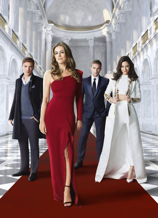 (3. Staffel) - The Royals: Helena (Elizabeth Hurley, 2.v.l.), Liam (William Moseley, l.), Eleanor (Alexandra Park, r.) und Jasper (Tom Austen, 2.v.r... - Bildquelle: 2016 E! Entertainment Television, LLC