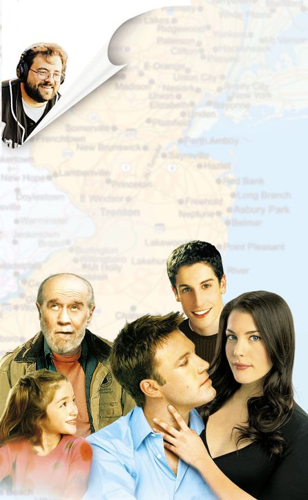 Jersey Girl: Kevin Smith (oben l.), Raquel Castro (unten l.), Ben Affleck (unten M.), Liv Tyler (unten r.), George Carlin (unten 2.v.l.) und Jason B... - Bildquelle: Peter Sorel Miramax Films. All rights reserved