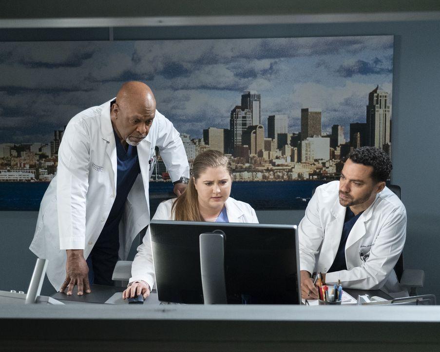 (v.l.n.r.) Dr. Richard Webber (James Pickens Jr.); Dr. Taryn Helm (Jaicy Elliot); Dr. Jackson Avery (Jesse Williams) - Bildquelle: Eric McCandless ABC Studios / Eric McCandless
