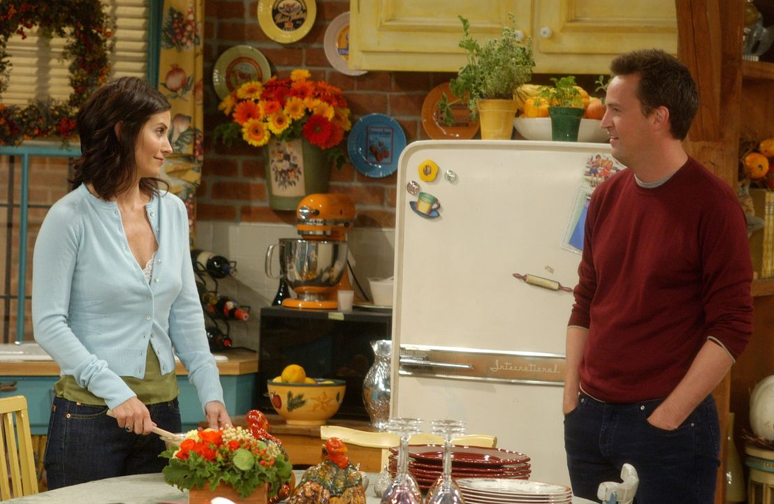 Für Monica (Courteney Cox, l.) und Chandler (Matthew Perry, r.) geht ein Wunsch in Erfüllung ... - Bildquelle: 2003 Warner Brothers International Television