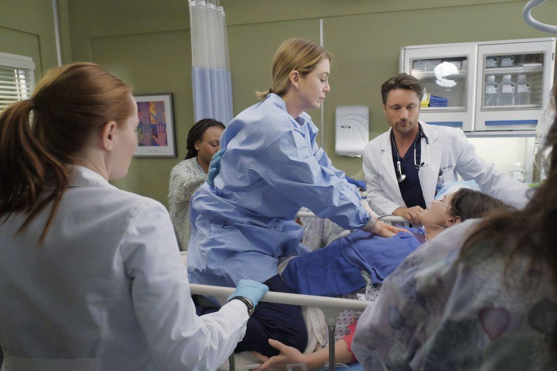 Meredith (Ellen Pompeo, M.), Riggs (Martin Henderson, 2.v.r.) und Blake (Samantha Sloyan, l.) versuchen, das Leben von Daphne (Meredith Salenger, r.... - Bildquelle: Tony Rivetti ABC Studios