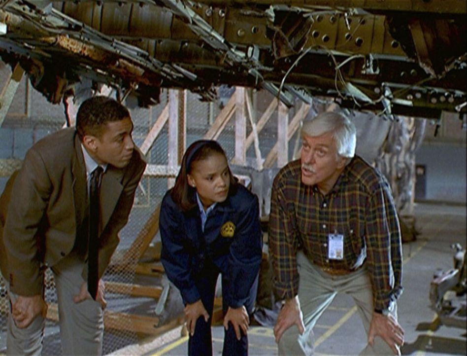 Wagner (Harry J. Lennix, l.), Amanda (Victoria Rowell, M.) und Mark (Dick Van Dyke, r.) untersuchen die Wrackteile des abgestürzten Jumbos. - Bildquelle: Viacom