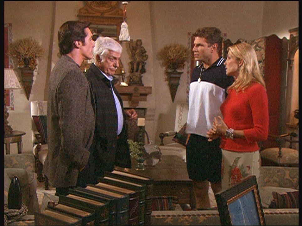 (v.l.n.r.) Steve (Barry Van Dyke) und Mark (Dick Van Dyke) konfrontieren Jim und Dina mit ihrem Verdacht, dass Jim seinen Zwillingsbruder ermordet u... - Bildquelle: Viacom