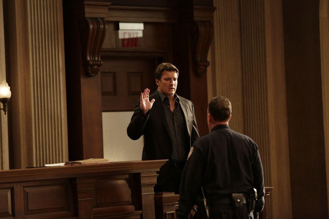 Für Castle (Nathan Fillion) ist nun endlich sein Tag vor Gericht gekommen. Er ist bereit auszusagen, doch dann tauchen neue Informationen auf, die a... - Bildquelle: Scott Everett White 2016 American Broadcasting Companies, Inc. All rights reserved.
