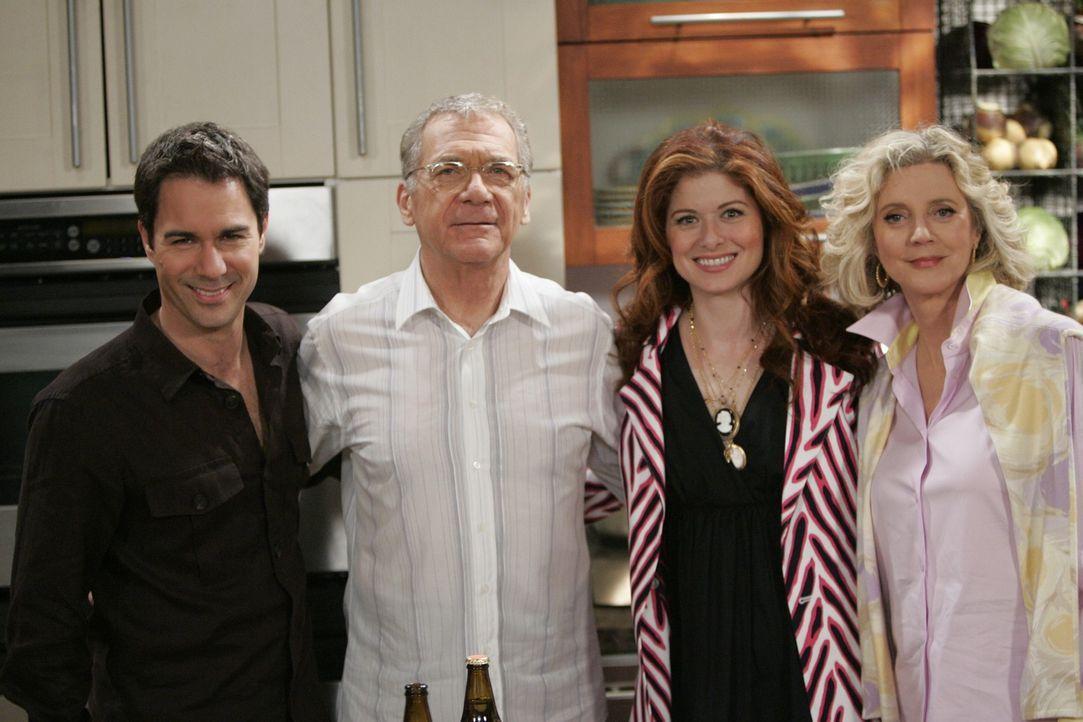 Gemeinsam feiern sie die Wiedervereinigung von Wills Eltern: Will (Eric McCormack, l.), George (Sydney Pollack, 2.v.l.), Grace (Debra Messing, 2.v.r... - Bildquelle: Chris Haston NBC Productions