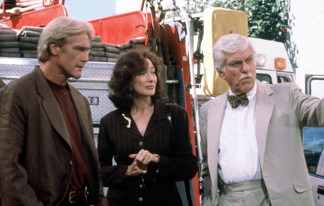 Steve (Barry Van Dyke, l.), Patricia Purcell (Dixie Carter, M.) und Dr. Mark Sloan (Dick Van Dyke, r.) suchen auf einem Schrottplatz nach Beweismate... - Bildquelle: Viacom