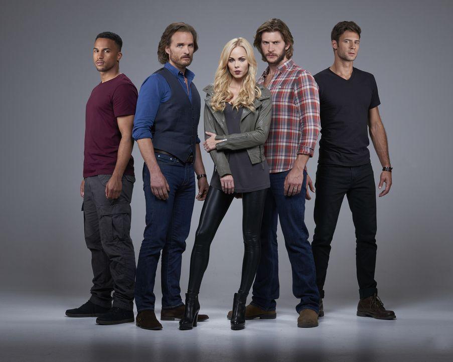 (2. Staffel) -Ist ihr Rudel wirklich so stark, wie sie es sich erhoffen? Logan (Michael Xavier, l.), Jeremy (Greg Bryk, 2.v.l.), Elena (Laura Vander... - Bildquelle: 2015 She-Wolf Season 2 Productions Inc.