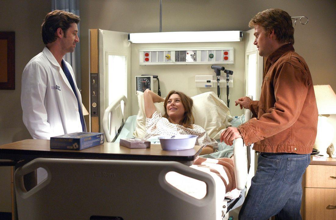 Sind besorgt um Meredith (Ellen Pompeo, M.): Derek (Patrick Dempsey, l.) und Finn (Chris O'Donnell, r.) ... - Bildquelle: Touchstone Television