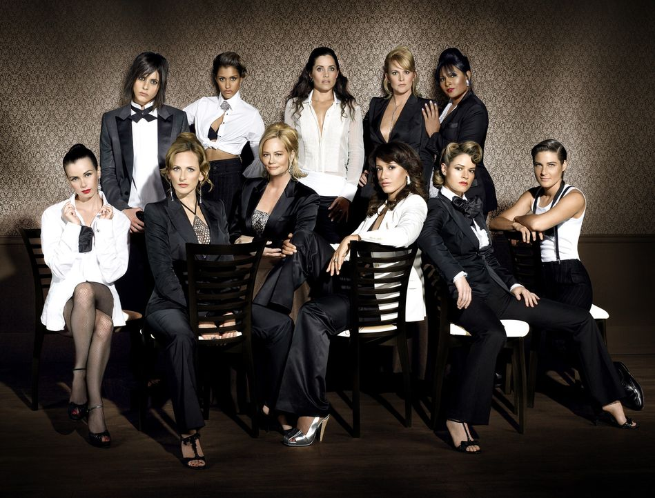 "(4. Staffel) - ""The L Word"": (oben v.l.n.r.) Shane (Katherine Moennig), Papi (Janina Gavankar), Helena (Rachel Shelley), Tina (Laurel Holloman), Kit... - Bildquelle: Metro-Goldwyn-Mayer Studios Inc. All Rights Reserved."