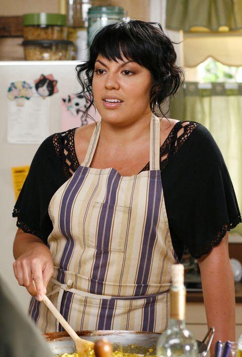 Callie (Sara Ramirez) kommt mit Essen bei Meredith vorbei, da sie Angst um George hat, der unter Quarantäne gesetzt wurde ... - Bildquelle: Touchstone Television