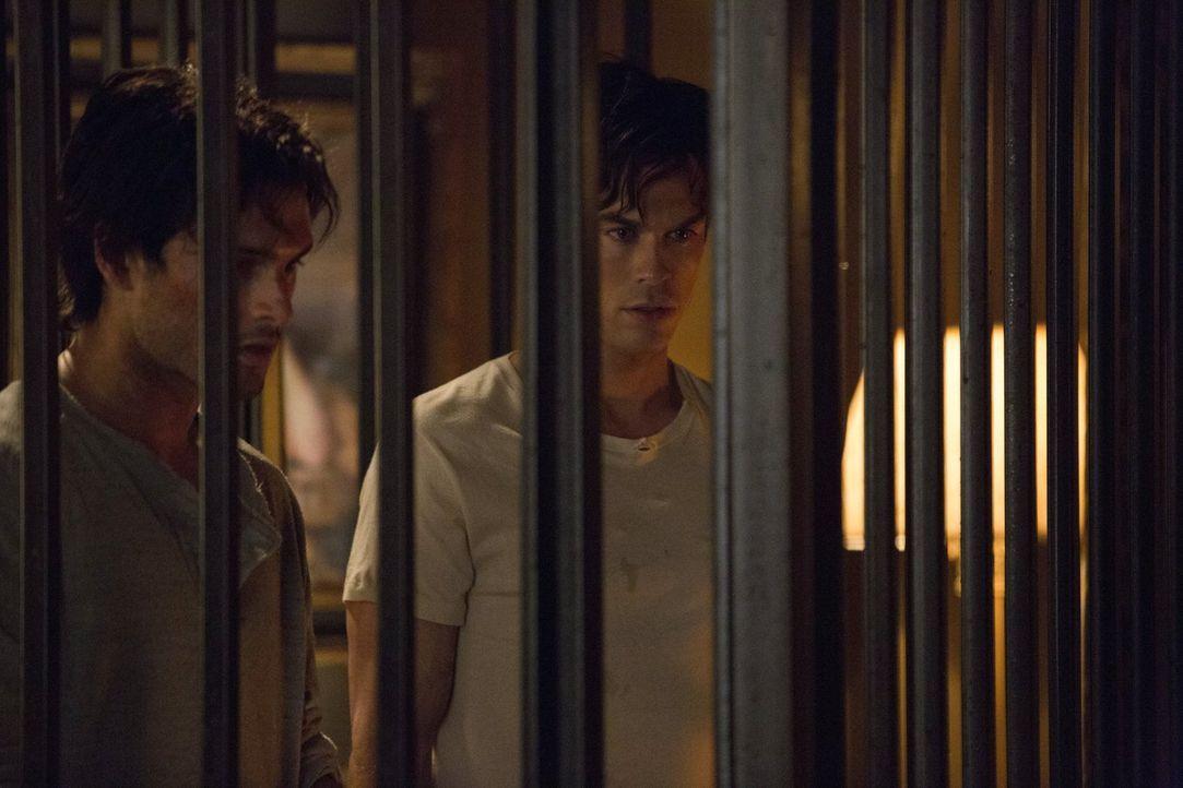 Nur zusammen konnten sie die Qualen überstehen: Enzo (Michael Malarkey, l.) und Damon (Ian Somerhalder, r.) ... - Bildquelle: Warner Brothers