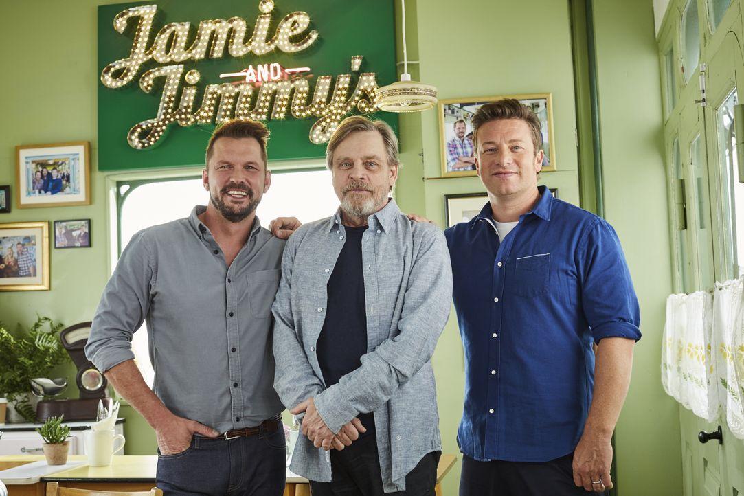(v.l.n.r.) Jimmy Doherty; Mark Hamill; Jamie Oliver - Bildquelle: David Loftus