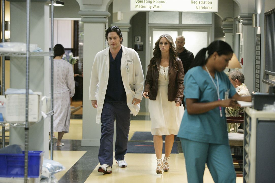 Nachdem Jim (David Conrad, l.) Melinda (Jennifer Love Hewitt, 3.v.l.) von einem seltsamen Vorfall im Krankenhaus erzählt hat, kommt sie auf seine St... - Bildquelle: ABC Studios