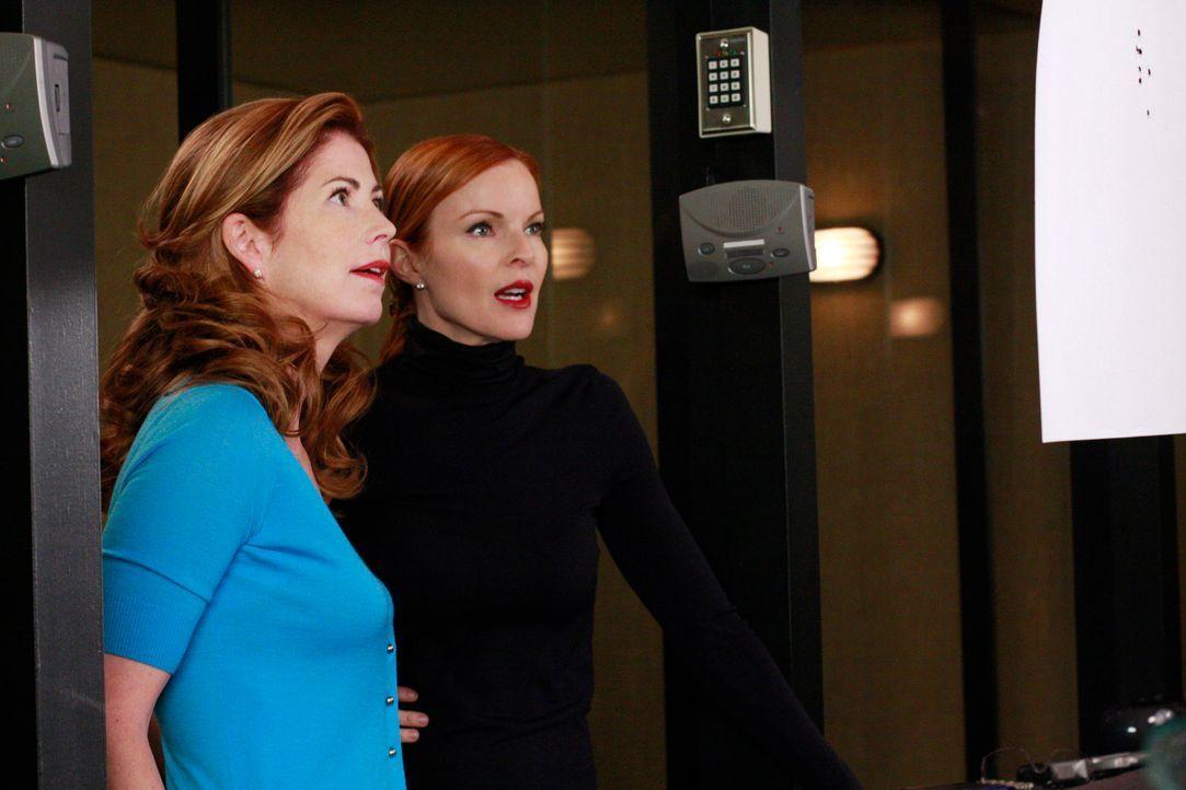 Während Lynette von der Polizei verhaftet wird, werden Bree (Marcia Cross, r.) und Katherine (Dana Delany, l.) von Lee und Bob gebeten, ihre Beziehu... - Bildquelle: ABC Studios