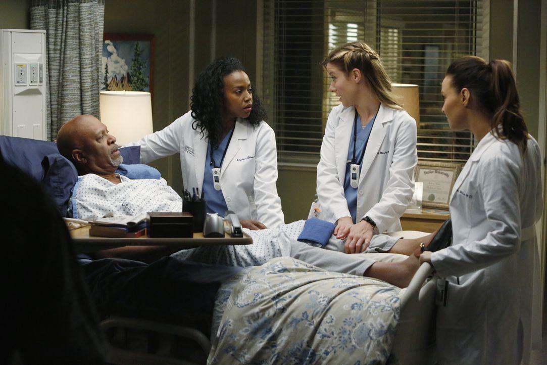 Zu Recht sorgen sich alle um Dr. Webbers (James Pickens Jr., l.) Gesundheit. Auch Stephanie (Jerrika Hinton, 2.v.l.), Leah (Tessa Ferrer, 2.v.r.) un... - Bildquelle: ABC Studios
