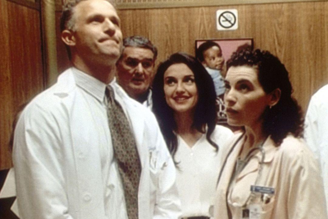 Taglieri (Rick Rossovich, l.) stellt im Fahrstuhl seiner Verlobten Carol (Julianna Margulies, r.) Diane (Lisa Zane, M.) vor. - Bildquelle: TM+  2000 WARNER BROS.