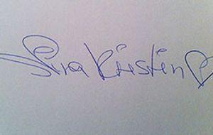4 Blondes auf sixx - Nina Kristins Unterschrift