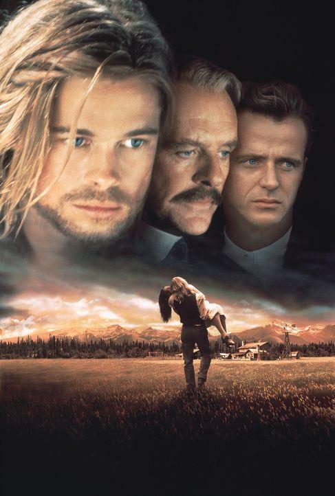 Ludlow (Anthony Hopkins, M.) sitzt zwischen den Stühlen. Seine Söhne Tristan (Brad Pitt, l.) und Alfred (Aidan Quinn, r.) begehren die gleiche Fra... - Bildquelle: TriStar Pictures