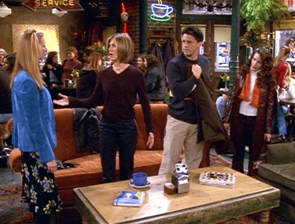 Phoebe (Lisa Kudrow, l.) und Rachel (Jennifer Aniston, 2.v.l.) wollen sich abseilen, damit Joey (Matt LeBlanc, 2.v.r.) mit Erin (Kristin Davis, r.)... - Bildquelle: TM+  2000 WARNER BROS.