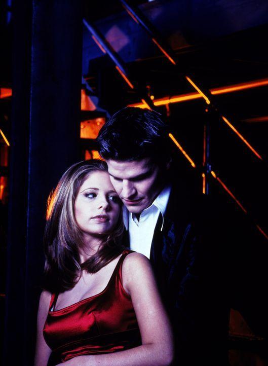 (1. Staffel) - Weil er eine Seele hat und damit über menschliche Züge verfügt, wird Angel (David Boreanaz, r.) von der hübschen Vampirjägerin Buffy... - Bildquelle: (1997) Twentieth Century Fox Film Corporation.