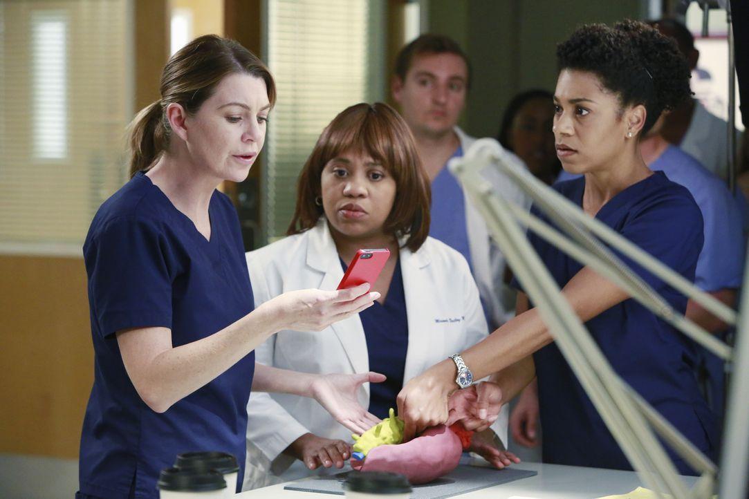 Suchen nach einer Lösung, um eine Patientin zu retten: Meredith (Ellen Pompeo, l.), Miranda (Chandra Wilson, M.) und Maggie (Kelly McCreary, r.) ... - Bildquelle: ABC Studios