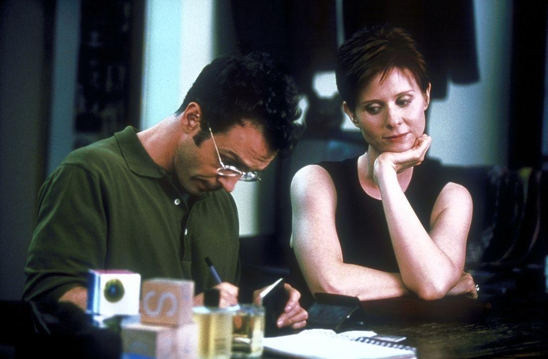 Miranda (Cynthia Nixon, r.) und Barkeeper Steve (David Eigenberg, l.) stellen fest, dass sie ein absolut unvereinbares Leben haben ... - Bildquelle: 2001 Paramount Pictures