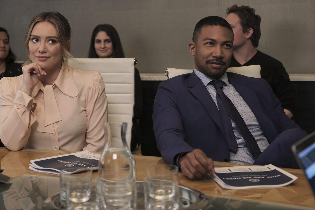Kelsey Peters (Hilary Duff, l.); Zane Anders (Charles Michael Davis, r.) - Bildquelle: Hudson Street Productions Inc 2018