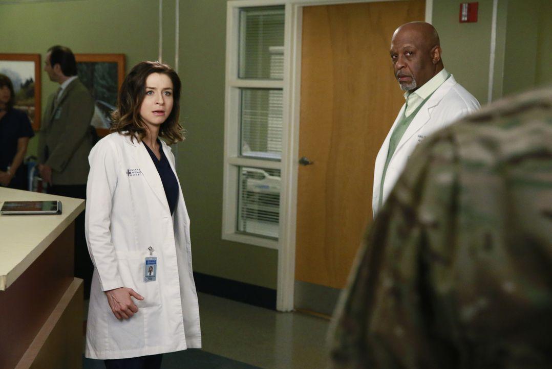 Während Richard (James Pickens, Jr, M.) Catherine Avery sine Liebe gesteht, muss Amelia (Caterina Scorsone, l.) erkennen, dass Owen (Kevin McKidd, r... - Bildquelle: ABC Studios