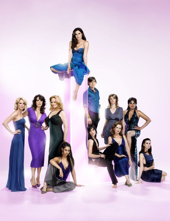 "(4. Staffel) - ""The L Word"": (v.l.n.r.) Tina (Laurel Holloman), Bette (Jennifer Beals), Phyllis (Cybill Shepherd), Papi (Janina Gavankar), Helena (R... - Bildquelle: Metro-Goldwyn-Mayer Studios Inc. All Rights Reserved."
