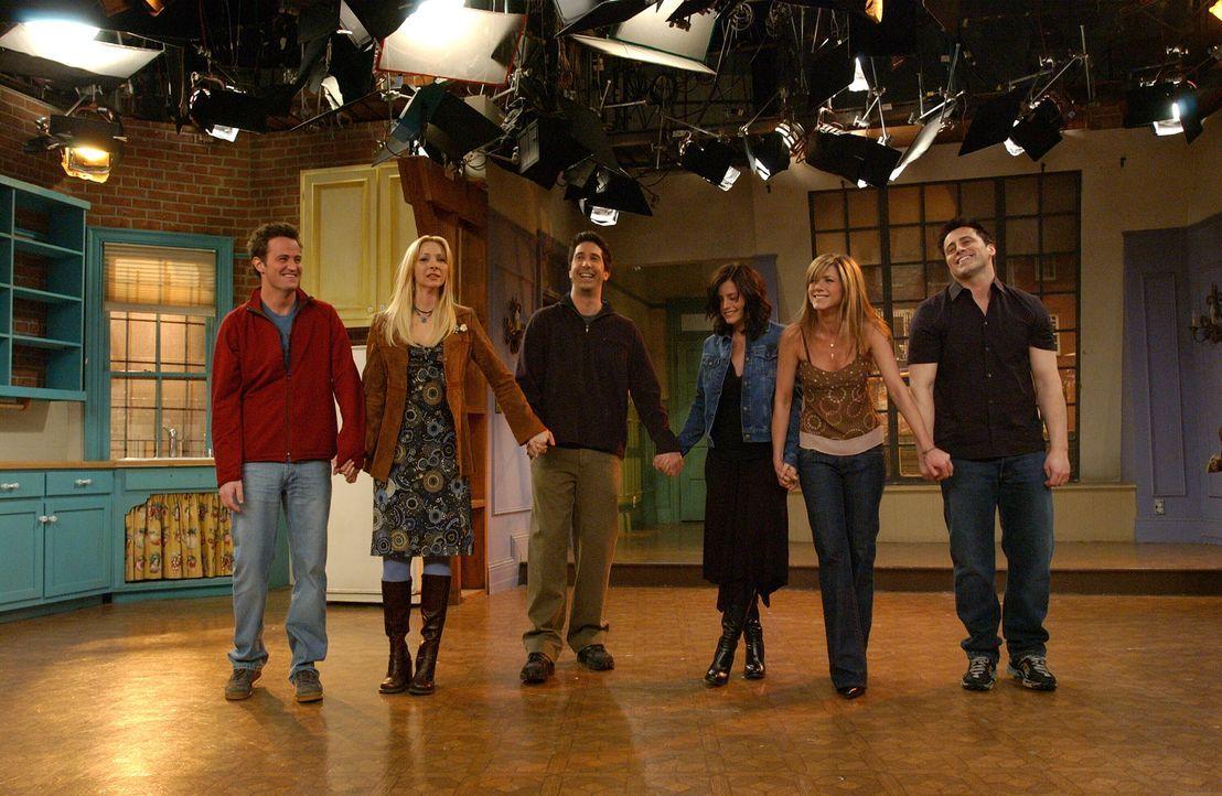 Good bye: Ross (David Schwimmer, 3.v.l.), Rachel (Jennifer Aniston, 2.v.r.), Monica (Courteney Cox, 3.v.r.), Chandler (Matthew Perry, l.), Joey (Mat... - Bildquelle: 2003 Warner Brothers International Television