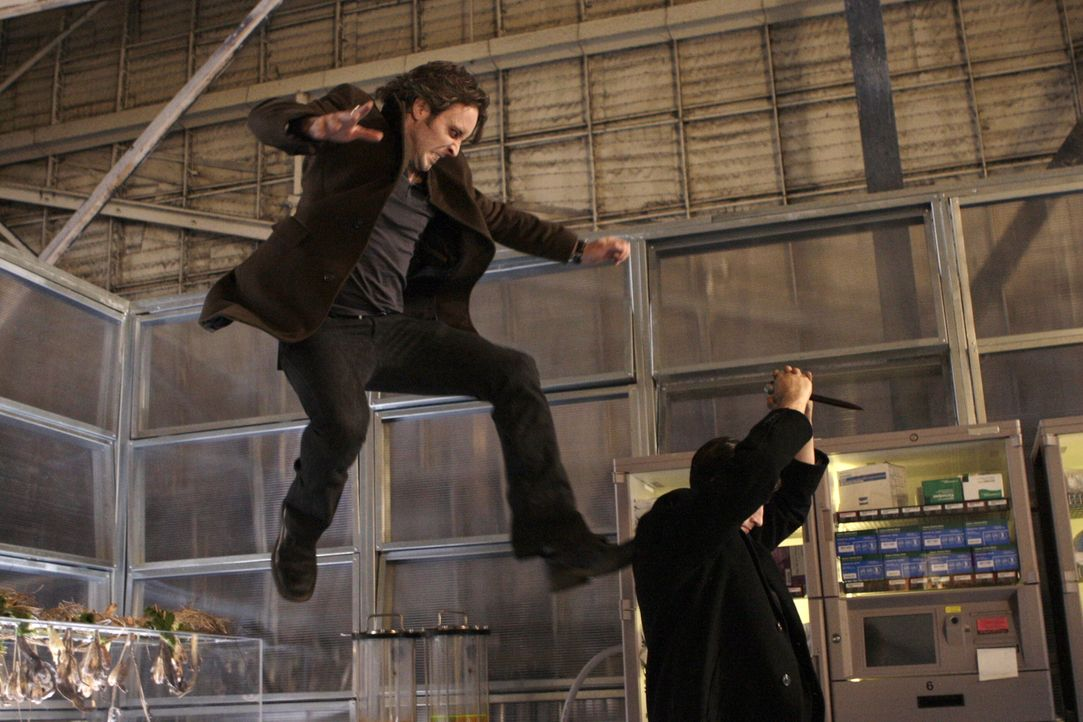 Im letzten Augenblick gelingt es Mick (Alex O'Loughlin, l.), den dubiosen Vampir Lance (Jason Butler Harner, r.) zu überwältigen und Coraline zu r... - Bildquelle: Warner Brothers
